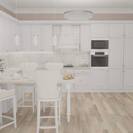 Традиционная белая кухня с легким уклоном в кантри от производителя на заказ - от 42 000р.-