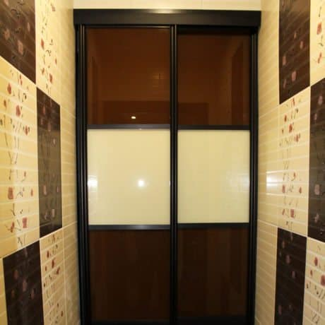Brown with beige Cabinet with sliding glass doors