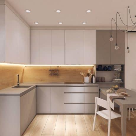 Современная угловая кухня Хайтек с интегрированными ручками. От 120 000 р.-