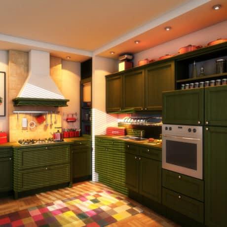 Кухня угловая с пеналами с крашеными фасадами, матовая эмаль. От 150 000 р.-. Любая конфигурация и цвет по RAL