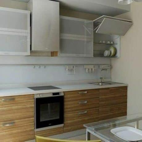 Современная прямая кухня Лайт с витринами. От 70 000 р.-